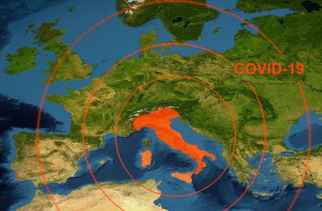 Coronavirus epidemic, word COVID-19 on Europe map. Novel coronavirus outbreak in Italy, the spread of...