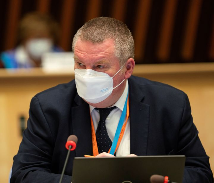 Mike Ryan, the WHO's top emergencies official, is seen here in Geneva on Oct. 5, 2020. Ryan says cold weather, more people indoors and increased social mixing have resulted in more coronavirus cases.