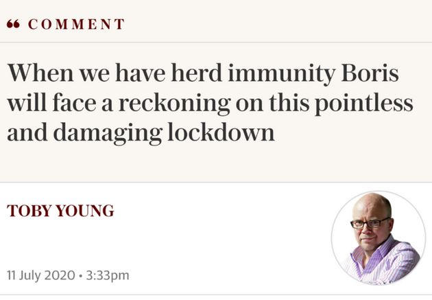 Toby Young has been among the most vocal critics of measures introduced to curb the spread of the outbreak.