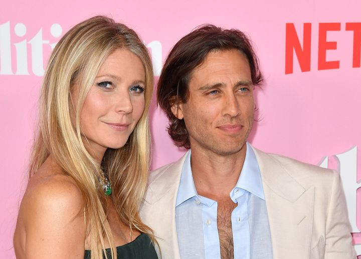 """Gwyneth Paltrow and her husband, writer/producer Brad Falchuk, arrive for the Netflix premiere of """"The Politician"""" in New Yor"""