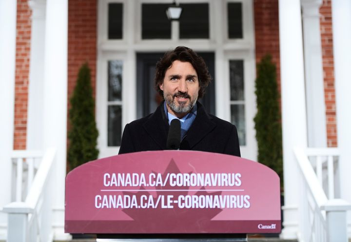 Prime Minister Justin Trudeau provides an update on the COVID-19 pandemic from Rideau Cottage in Ottawa on Jan. 11, 2021.