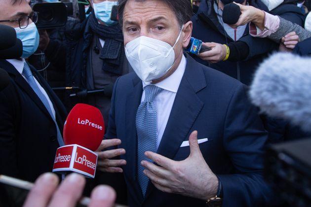 13/01/2021 Roma, il presidente del Consiglio Giuseppe Conte parla ai giornalisti dopo aver incontrato...