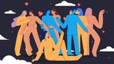 Cartoon naked man and woman kissing and hugging at swinger party vector flat illustration. Crowd of free bare body people enjoying love and tenderness together big limbs style
