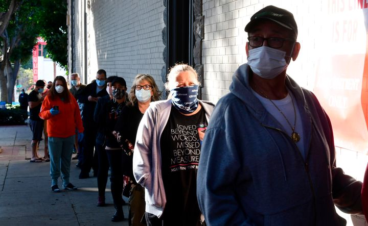 People wait in line for COVID-19 antibody testing in Whittier, California, on Jan. 13.