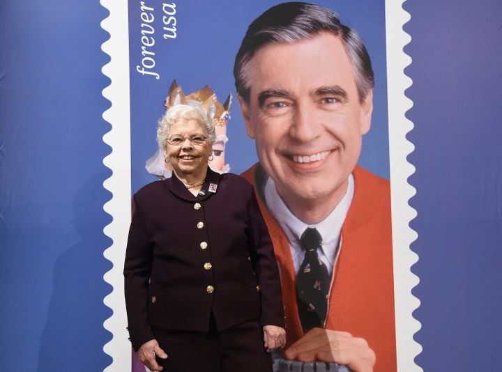 Joanne Rogers attended the U.S. Postal Service Dedication of the Mister Rogers Forever Stamp at WQED's Fred Rogers Studio on