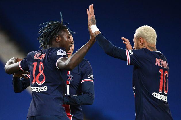 Moise Kean, Kylian Mbappe et Neymar pendant le match de L1 PSG-Girondins de Bordeaux le 28/11/ 2020....