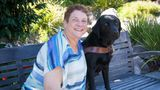 The author and her guide dog, Dime, pictured on Guide Dogs for the Blind's campus in San Rafael, California.