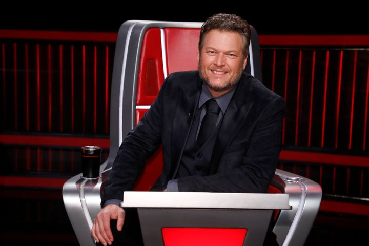 """Shelton pictured as a coach on """"The Voice."""""""