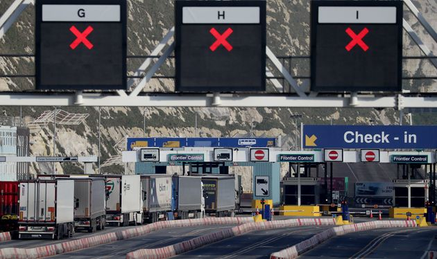 Lorries arrive at the Port of Dover in Kent one week on from the introduction of post-Brexit