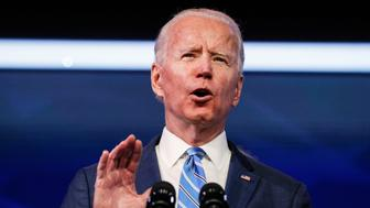 U.S. President-elect Joe Biden delivers remarks during a televised speech on the current economic and health crises at The Queen Theatre in Wilmington, Delaware, U.S., January 14, 2021. REUTERS/Tom Brenner
