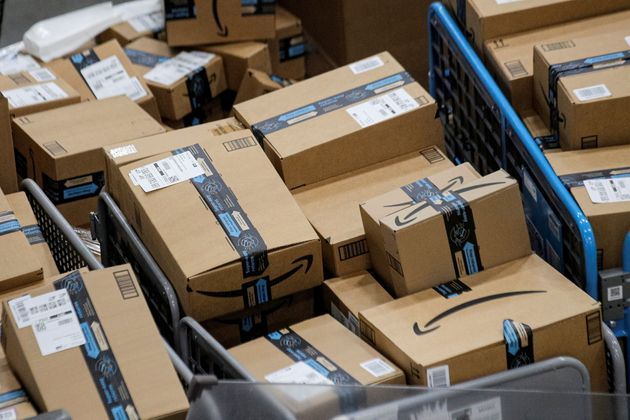 Packages are seen inside Amazon's distribution center in Staten Island, New York, late last year. Amazon...