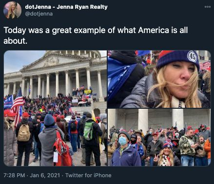 Jenna Ryan tweeted about her involvement in the Jan. 6 insurrection, including posting photographic evidence.