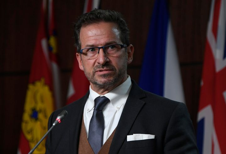 Bloc Leader Yves-François Blanchet  comments on the governments Fiscal update during a news conference in Ottawa on Nov. 30, 2020.