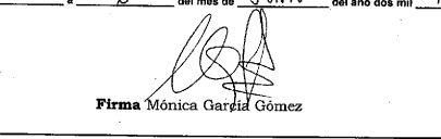 Firma de Mónica