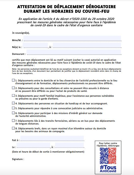 L'attestation de déplacement pour le couvre-feu à 18h (ministère de