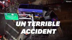 À New York, un impressionnant accident laisse un bus suspendu au-dessus de la