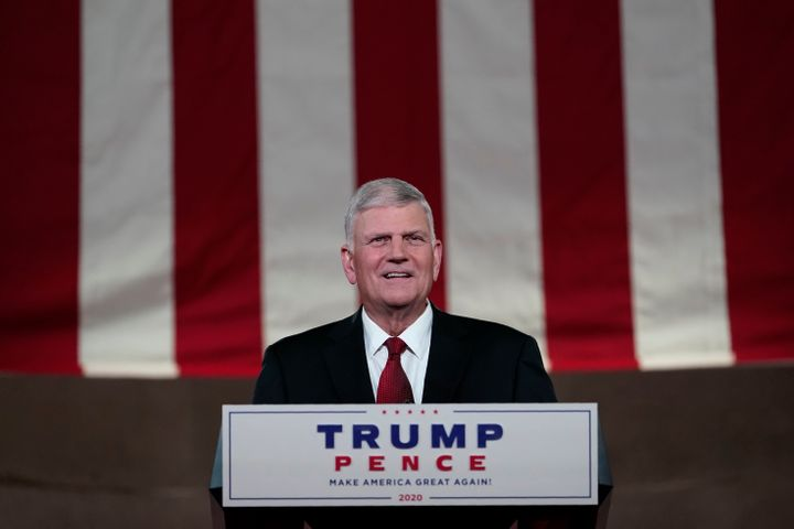 Franklin Graham recites a prayer for the fourth day of the Republican National Convention on Aug. 27. Graham has defended Tru
