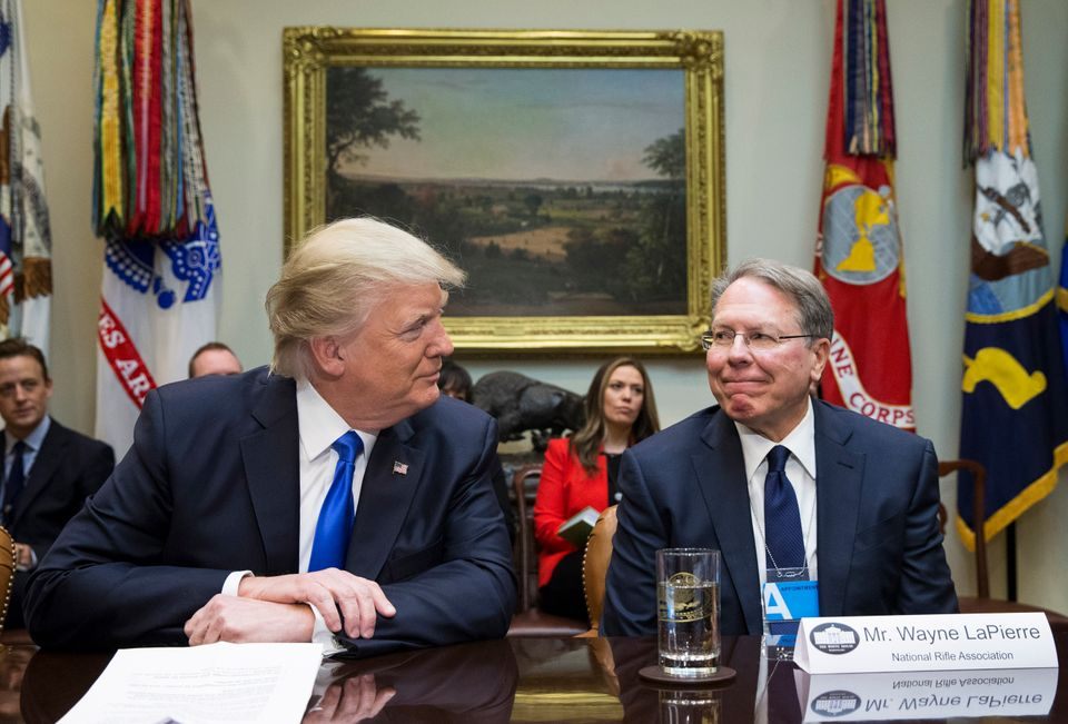 WASHINGTON, DC - FEBRUARY 1:  (AFP OUT) U.S. President Donald Trump (L) sits beside Executive Vice President and CEO of the National Rifle Association (NRA) Wayne LaPierre (R), during a meeting on Trump's Supreme Court nomination of Neil Gorsuch in the Roosevelt Room of the White House on February 1, 2017 in Washington, DC. (Photo by Michael Reynolds - Pool/Getty Images)