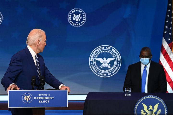 President-elect Joe Biden introduces his nominee for defense secretary, retired Army Gen. Lloyd Austin, on Dec. 9, 2020.