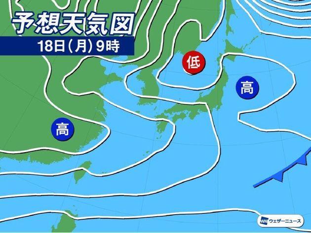 予想天気図 18日(月)9時