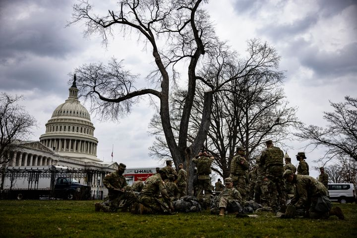 National Guard troops are seen on the lawn of the U.S. Capitol on Jan. 15.
