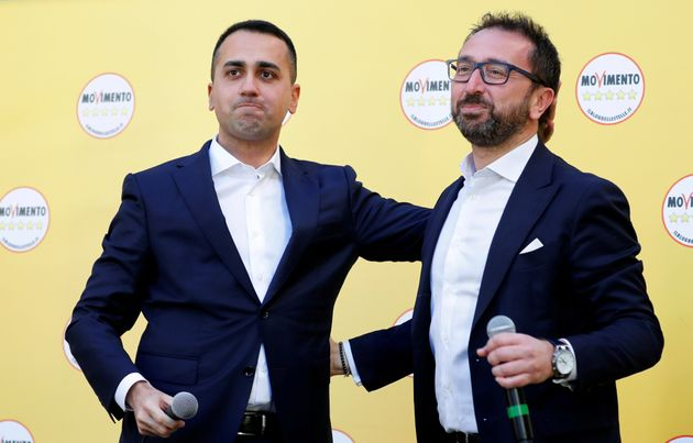 Italy's Foreign Minister Luigi di Maio and Italy's Justice Minister Alfonso Bonafede attend an anti-government...