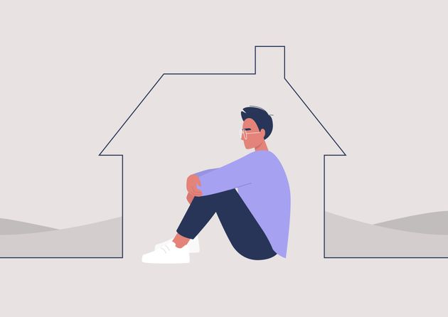 Young male character self isolated at home, quarantine and social