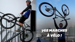 Aurélien Fontenoy grimpe une tour de La Défense... à vélo
