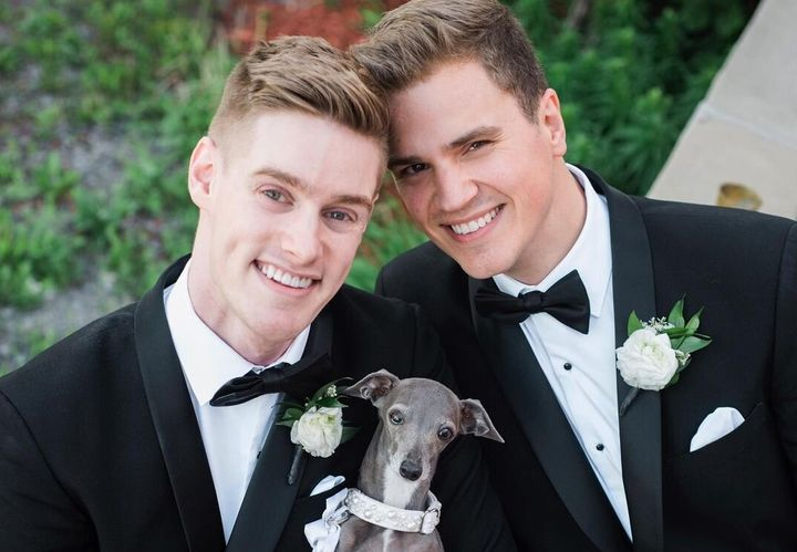 Thomas Shapiro, left, with his husband Louis on their wedding day in 2018. Tika, naturally, was the ring-bearer.