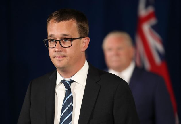 Monte McNaughton speaks at the lectern as the government gives an update on the COVID-19 situation in...