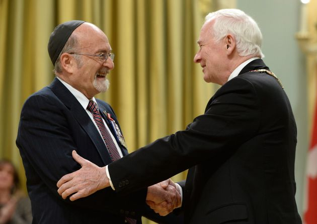 Governor General David Johnston invests Rabbi Reuven Bulka of Ottawa into the Order of Canada to during...
