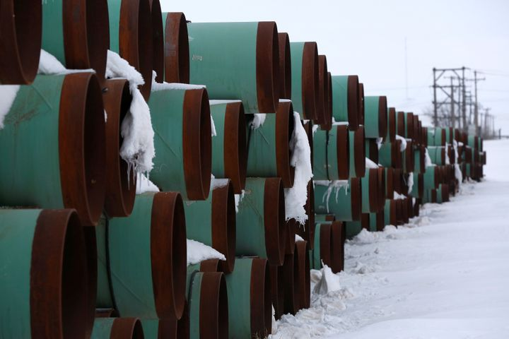 A depot used to store pipes for Transcanada Corp's planned Keystone XL oil pipeline is seen in Gascoyne, North Dakota, Jan. 25, 2017.