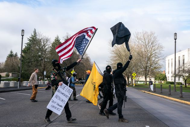Members of the anti-government group, The Boogaloo Boys, protest on January 17, 2021 in Salem,