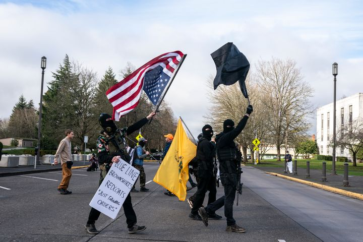 Members of the anti-government group, The Boogaloo Boys, protest on January 17, 2021 in Salem, Oregon.