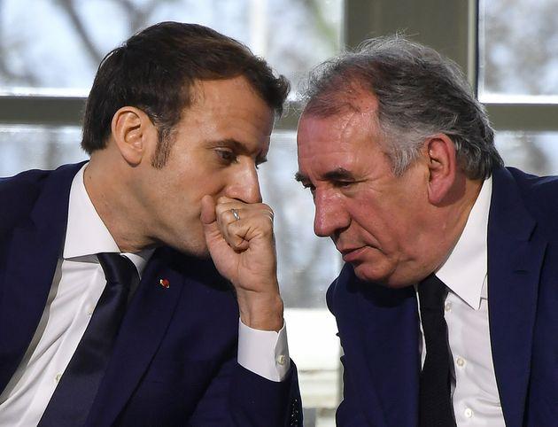 Emmanuel Macron et François Bayrou lors d'une conférence de presse en janvier 2020