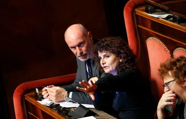 Italian politicians Gregorio De Falco and Paola Nugnes during Lega senators protest on the ILVA case....