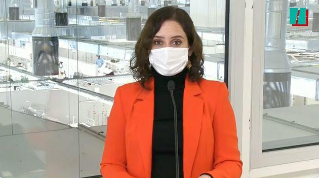 Isabel Díaz Ayuso, este lunes desde el Hospital Isabel
