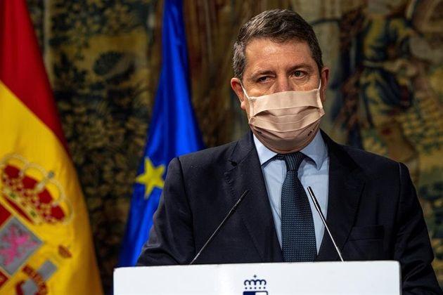 El presidente de Castilla-La Mancha, Emiliano García-Page, durante la comparecencia de este