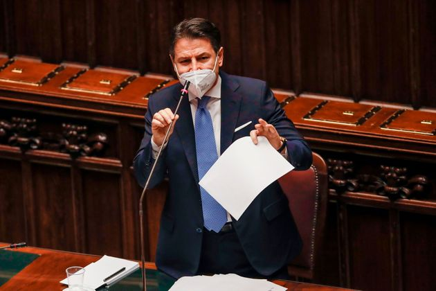 Italy's Prime Minister Giuseppe Conte addresses on January 18, 2021 the lower house of parliament at...