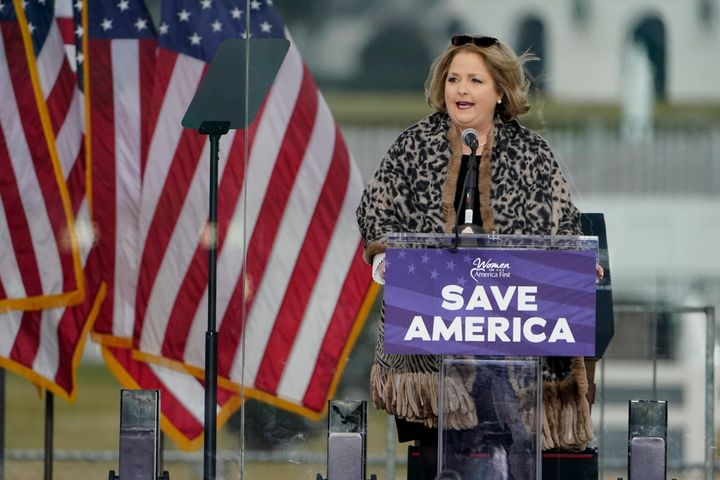 In this Jan. 6, 2021 file photo Amy Kremer, Chairwoman of Women for America First, speaks in Washington, at a rally in suppor