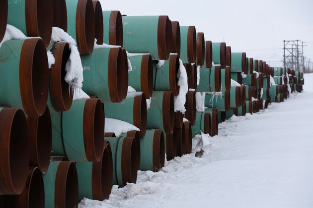 Pipes to be used for the Keystone XL pipeline project sit in the snow in Gascoyne, N.D., on Jan. 25,