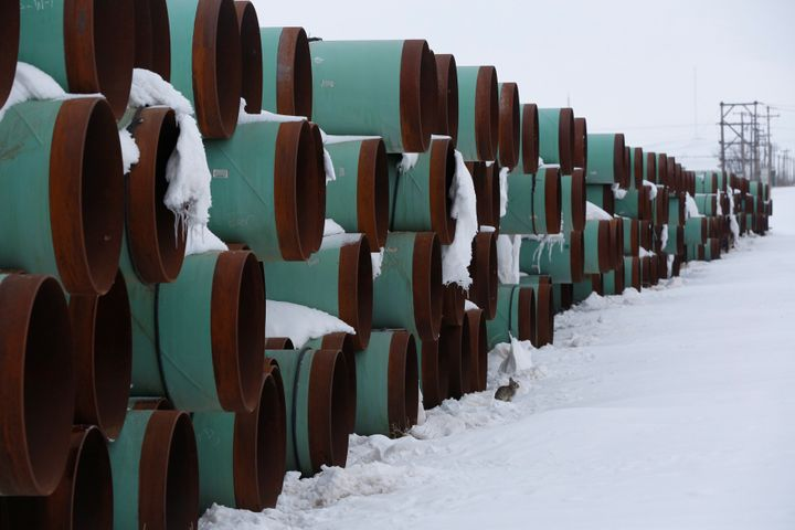 Pipes to be used for the Keystone XL pipeline project sit in the snow in Gascoyne, N.D., on Jan. 25, 2017.