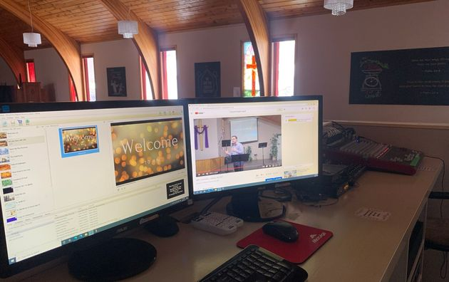 A view from the pulpit. The writer, a Baptist pastor, and his church started streaming services online...
