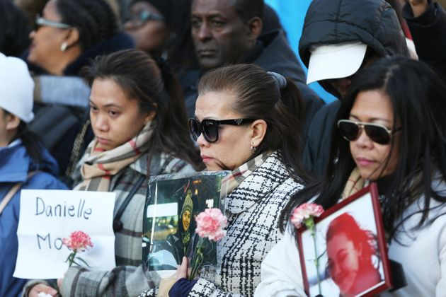 The family of Danielle Moore who was killed in the Ethiopian Airlines crash, at a vigil in Toronto, on...