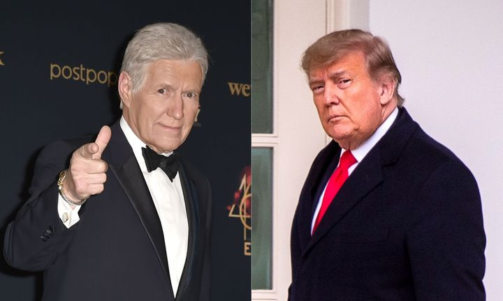 "The late ""Jeopardy!"" host Alex Trebek and U.S. President Donald Trump."