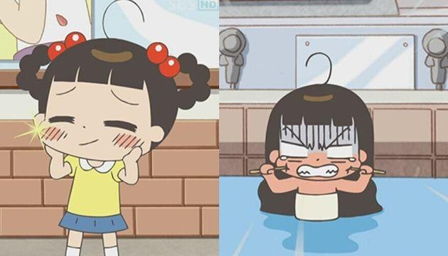 예뻐지고 싶은 자두가 목욕탕에서 젓가락으로 보조개를 만들려는 모습. 이 외에도'예뻐지고 싶어' 편에서는