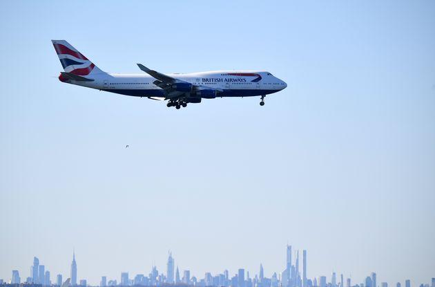 Un avion de British Airways avant son atterrissage à l'aéroport JFK de New York, le 15...