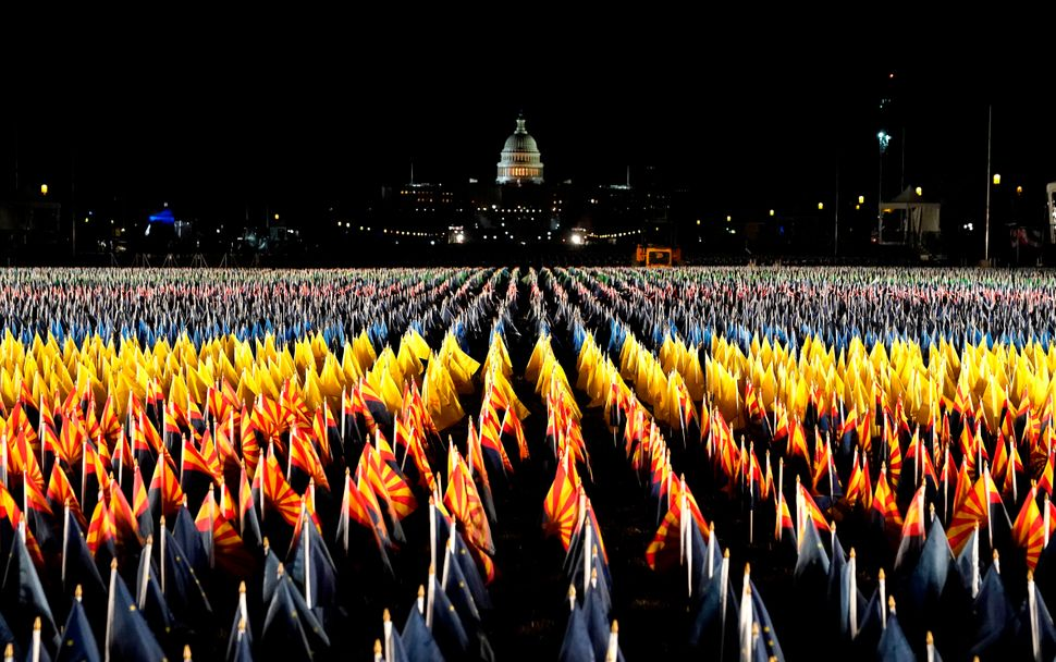 Tens of thousands of flags represent Americans unable to attend the historic Jan. 20 ceremony.