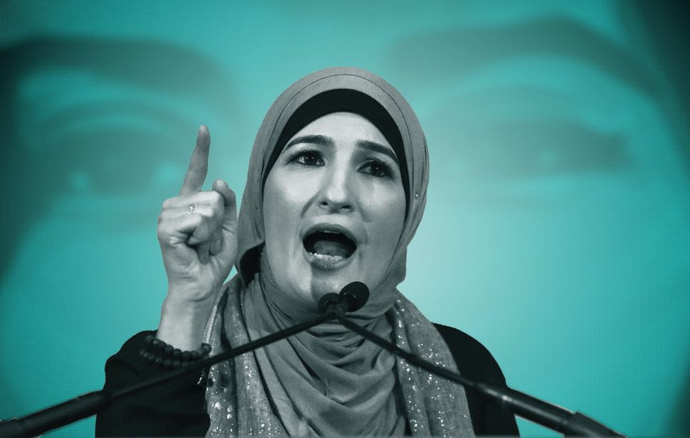 Linda Sarsour speaks during a National Day of Action for a Dream Act Now protest on Feb. 7, 2018, in Washington, D.C.
