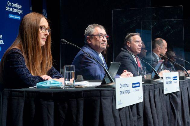 Lucie Opatrny, sous-ministre adjointe à la Santé, Horacio Arruda, directeur national de Santé publique,...